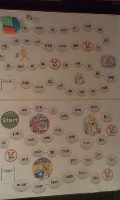 Spelbord (gemakkelijke & moeilijkere versie)  [Leren lezen met Hup: Leessprong]