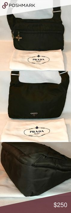 """Auth PRADA Brown Crossbody Messenger w/ Dust Bag 💎 Great Condition & 100% Authentic 💎  A few VERY little surface marks - NOT easily noticed. No snags, holes or rips.  🌟 I replaced the original zipper pulls with LV Bijoux / Tapage style charms 🌟  2 outer zip pockets Main opening has top Velcro closure. Inner side zip pocket  H: 9"""" L: 12"""" D: 4.5"""" Strap Drop: 19""""  💓 Includes PRADA Dust Bag as shown 💓  🎁 All of my bags are shipped in boxes to ensure safe delivery 🎁 Prada Bags Crossbody…"""