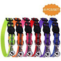 """Safety Reflective Cat Collar Breakaway Cats Collars with Bell, Adjustable 8-10"""""""