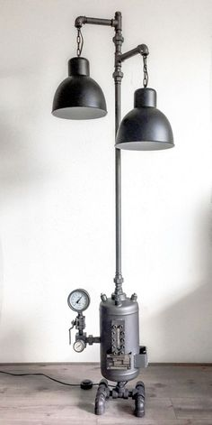 70 cheap diy industrial pipe lamps ideas to decor your home Steampunk Furniture, Steampunk Lamp, Industrial Lighting, Cool Lighting, Industrial Pipe, Modern Floor Lamps, Pipe Lamp, Lamp Light, Light Fixtures