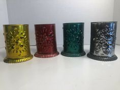 Lantern Set, Lantern Candle Holders, Mexico Country, Tin Candles, Mexican Folk Art, Tin Boxes, Vintage Holiday, Red Gold, Unique Vintage
