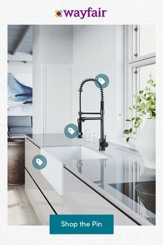 Find dream home inspiration, great deals, and free two-day shipping on thousands of products. Shop now! Modern Grey Kitchen, Grey Kitchen Designs, Modern Kitchen Interiors, Key Kitchen, Farmhouse Sink Kitchen, Home Decor Kitchen, Kitchen Cabinets, Tucker House, Miami Beach