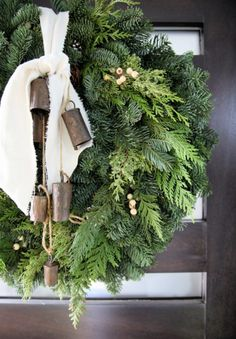 2019 Holiday Housewalk - Jeanne Oliver Fresh wreath with vintage French linen and bells. Christmas Love, All Things Christmas, Winter Christmas, Vintage Christmas, Christmas Wreaths, Christmas Crafts, Minimal Christmas, Decoration Christmas, Xmas Decorations