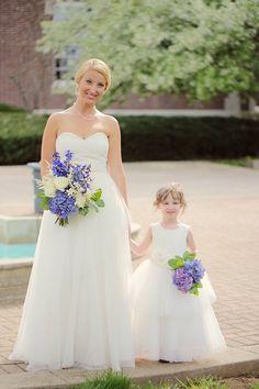 bride and flower girl wedding photo