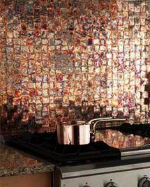 Patina Copper tiles from Frigo Design - woven seared patina copper backsplash