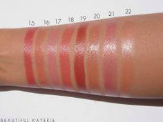15. Rose Garnet – Smooth Minerals Lipstick 16. Juicy Apricot – Glazewear Lipstick 17. Pout – Ultra Color Rich Lipstick 18. Skin - Ultra Color Rich Lipstick 19. Bronze Treasure - Ultra Color Rich Lipstick 20. Island Pearl – Smooth Minerals Lipstick 21. Frozen Rose – Ultra Color Rich Lipstick 22. Sheer Light Peach - Ultra Color Rich Lipstick