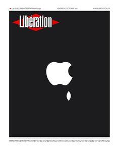 Liberation, 2011 In memory of Steve Jobs Steve Jobs, Newspaper Cover, Newspaper Design, Caricatures, Image Republic, Sad Day, Print Layout, Art Graphique, Magazine Design