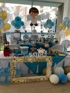 Primera comunión niño #ideas candy bar #mesa dulce #mesa de postres #Eventos. Candy Bar Comunion, First Communion Decorations, Holy Communion Cakes, Tropical Party, Ideas Para Fiestas, Candy Table, Diy Party, Holidays And Events, Baby Boy Shower