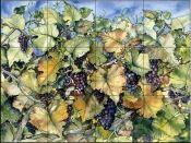 Autumn Grapes - Tile Mural Decorative Tile Backsplash, Kitchen Backsplash, Tumbled Marble Tile, Fruit Picture, Fruits Images, Tile Projects, Tile Murals, Decoupage, Beautiful Artwork
