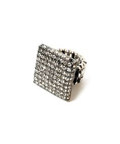 Take a look at this Gunmetal & Crystal Union Square Stretch Ring by Amrita Singh on #zulily today!