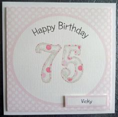 Personalised Pink 75th Handmade Birthday Card - SC57 £2.75