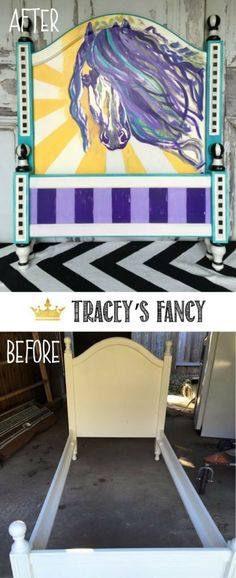 Purple, Blue and Yellow Painted Horse Headboard by Tracey's Fancy | Bed Makeover | Headboard Makeover | Children's Room Furniture|  Girls Room Furniture | Girls Bedroom Furniture | Painted Headboard Ideas #horses #headboard #whimsical #dixiebellepaint