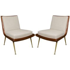 Pair of T. H. Robsjohn-Gibbings Slipper Chairs with Brass Legs | See more antique and modern Slipper Chairs at http://www.1stdibs.com/furniture/seating/slipper-chairs