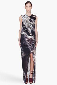 Helmut Lang Long Driftwood Print Dress for women | SSENSE