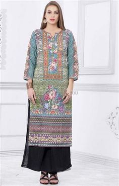 kurta design female 2016 latest printed top with v-neck and show buttons