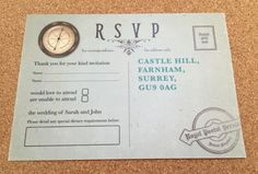 Rsvp reply cards with the travel theme running through.
