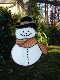 Cute Snowman Stained Glass Suncatcher