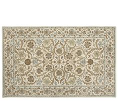 Ashlee Rug - 9'x12' - The Ashlee is stocked in a beige background with green, blue and brown in a floral pattern with a border.-