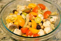 Just dump in bowl and toss! Antipasto Salad, Artichoke Hearts, Kalamata Olives, Heirloom Tomatoes, Southern Belle, Mozzarella, Yum Yum, Potato Salad, Balls
