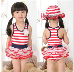7bf8129514cdf US $15.8  Aliexpress.com : Buy Free shipping 2015 children's swimwear  swimsuit Female pirate costume swimming suit one piece hot springs Stripe  bathing suit ...