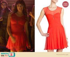 Rachel's red illusion dress on Glee.  Outfit Details: http://wornontv.net/31158/ #Glee