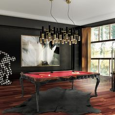 Behind the Scenes    Based on one of our prime dining tables, the Royal Pool Table boasts bold lines and unique patchwork, which are enveloped by baroque details and a minimalist faceted edge.    www.bocadolobo.com #behindthescenes #designfurniture #snooker #rugs #lighting #creativedesign #exclusivefurniture