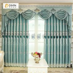 Curtains for Living Dining Room Bedroom European Velvet Jacquard Embroidery Curtains Living Room Floor Balcony Finished Curtains. Category: Home & Garden. Subcategory: Home Textile. Custom Drapes, Window Curtains, Living Dining Room, Pretty Bedroom, Curtains Living Room, Curtains, Drapes Curtains, Curtain Designs, Solid Curtains