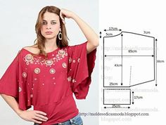 Fun top with butterfly sleeves + pattern Sewing Patterns Free, Sewing Tutorials, Clothing Patterns, Dress Patterns, Shirt Patterns, Diy Couture, Couture Sewing, Sewing Shirts, Sewing Clothes