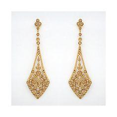 Deco Drop Earrings, Gold, Topaz; Evening Earrings; Bridal Ea... - Polyvore, $110