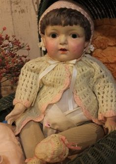 """Early 1900's comp and cloth doll 21"""""""