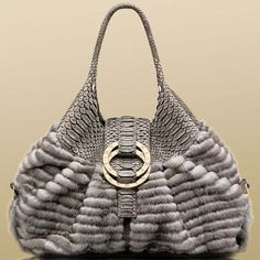 Bulgari Chandra metallic grey mink steel grey soft matt python shoulder bag