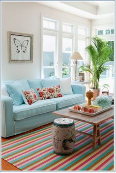 Turquoise Living Room with lots of other beautiful bright colors!!
