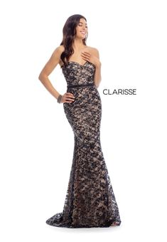 Style 8017 from Clarisse is a strapless fitted gown featuring a nude underlay as well as a lace overlay and a lace up back. Prom Dresses Online, Prom Party Dresses, Smoking, Trumpet Dress, Perfect Prom Dress, Formal Gowns, Strapless Dress Formal, Marie, Ball Gowns