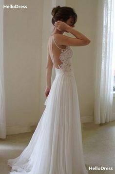 V-neck Floor Length Lace Bodice and Chiffon Skirt Boho Wedding Dress Beach Bridal Gown on Storenvy