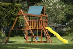 Build Your Own Endeavor Wood Playscape with 10' Slide and Three Position Swingset