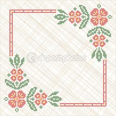Cross-stitch Embroidery In Ukrainian Traditional Ethnic Style Royalty Free Cliparts, Vectors, And Stock Illustration. Cross Stitch Borders, Cross Stitch Alphabet, Modern Cross Stitch Patterns, Cross Stitch Flowers, Cross Stitch Designs, Embroidery On Clothes, Hand Embroidery Patterns, Cross Stitch Embroidery, Wedding Cross