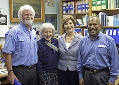 Former First Lady Barbara Bush  with Dr. Kumar Mahadevan, president of Mote Marine Laboratory in Sarasota, Florida.  Mote is dedicated to today's research for tomorrow's oceans with an emphasis on world-class research relevant to conservation and sustainable use of marine biodiversity, healthy habitats and natural resources. Mote is an alliance member of Sister Cities Association of Sarasota since 2002.