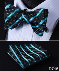 Floral 100%Silk Men Butterfly Striped Bow Ties Men SELF Tie Pocket Square Set #D7