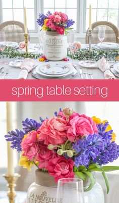 Spring flower arrangements are one of the easiest ways to add beautiful color to a seasonal tablescape to welcome the season of rebirth and renewal. French Table Setting, Country Table Settings, Elegant Table Settings, Beautiful Table Settings, Spring Flower Arrangements, Spring Flowers, French Country Christmas, Country Interior Design, Table Setting Inspiration