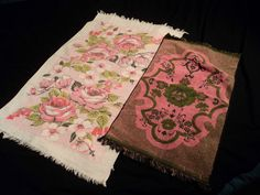 Vintage Bath Hand Towel Lady Pepperell Pink Rose Green MCM Print Retro Linen
