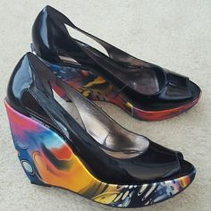Peep-toe Wedges Comfy multicolored wedged heel, black patent leather upper with cutout design on the side; NWOT; Never worn Carlos Santana Shoes Wedges
