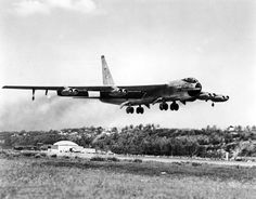 YB-52 First Flight. The Boeing YB-52 takes off on its maiden flight from Boeing Field on April 15, 1952. Note the tandem canopy, echoing the arrangement in Boeing's B-47. A more traditional cockpit arrangement was dictated by SAC commander Gen. Curtis LeMay for the B-52A. Robert F. Dorr Collection