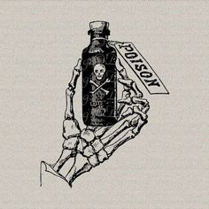 Gothic Grunge Halloween Skeleton Hand Bones Poison Bottle Printable Digital Download for Iron on Transfer Tote Pillow Tea Towel DT919 on Etsy, $1.14 CAD