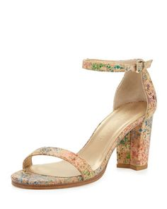 Nearlynude+Printed+Cork+City+Sandal,+Confetti+by+Stuart+Weitzman+at+Neiman+Marcus.