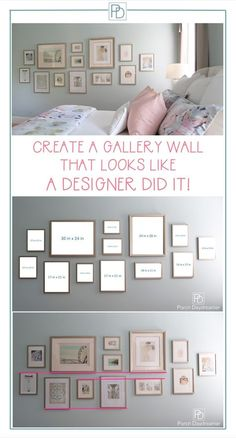 Do you wonder how designers create large gallery walls? Here are the proven tech… Do you wonder how designers create large gallery walls? Here are the proven techniques that will make your gallery wall look amazing. Room Interior, Interior Design Living Room, Living Room Decor, Living Room Gallery Wall, Bedroom Gallery Walls, Decorating A Large Wall In Living Room, Photo Gallery Hallway, Interior Decorating Tips, Interior Design Tips