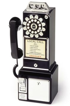 retro black payphone. . a new, working phone with retro styling. SO FUN. and works great!!! {junk gypsy co}