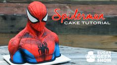 Spiderman cake tutorial - For all your cake decorating supplies, please visit… Superhero Birthday Cake, Novelty Birthday Cakes, Iron Man Kuchen, 3d Cake Tutorial, Artisan Cake Company, Ironman Cake, Batman Cakes, Deadpool Cake, Cake Spiderman