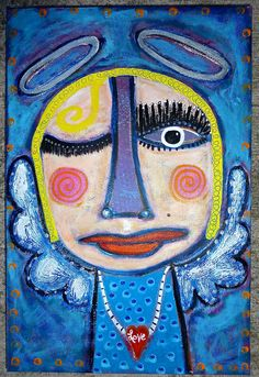 """""""Two Halos & A Wink"""" a funky original angel painting by Tracey Ann Finley"""
