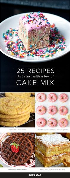 Some of the most creative and inventive recipes on the web start with a box of cake mix. Whether chocolate waffles or Funfetti Rice Krispies treats, one of these cake mix desserts will inspire you to throw on an apron and head to the kitchen.