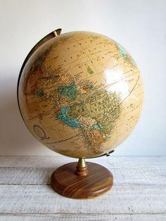 Vintage Brown World Globe / Cram's Imperial World Globe